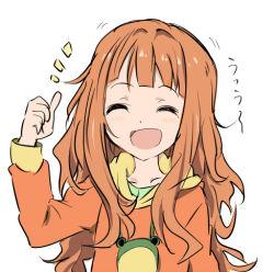 alternate_hairstyle child core_(mayomayo) eyes_closed frog hoodie idolmaster long_hair messy_hair orange_hair tagme takatsuki_yayoi thumbs_up