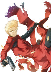 1boy bad_id blonde_hair bullet cartridge coat fingerless_gloves glasses gloves green_eyes gun handgun high_collar hitoya_(kitani) long_coat male_focus pistol red_coat revolver short_hair solo spiked_hair sunglasses torn_clothes trigun vash_the_stampede weapon
