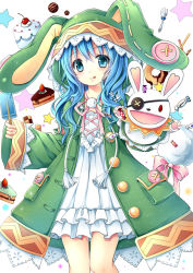 1girl :p animal_hood blue_eyes blue_hair bunny_hood candy curly_hair date_a_live food fork gyaza hand_puppet holding long_hair looking_at_viewer popsicle puppet smile strawberry_shortcake stuffed_animal stuffed_bunny stuffed_toy tongue tongue_out yoshino_(date_a_live) yoshinon
