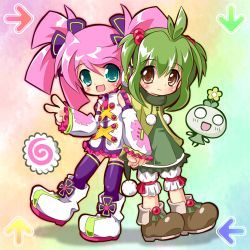 2girls :3 :d ahoge aqua_eyes bangs bloomers blush brown_eyes crossover dance_dance_revolution detached_sleeves dress flower flower_on_head frills green_hair hair_bobbles hair_ornament hand_holding haruka_nana headphones jacket miokuri multiple_girls o_o open_mouth pam_(utau) pink_hair purple_legwear scarf shoes short_twintails sidelocks skirt smile standing swept_bangs thighhighs twintails underwear utau v zettai_ryouiki zipper