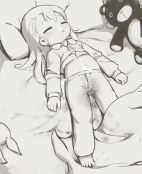 barefoot bed cum cum_on_body cum_on_clothes eyes_closed facial feet loli long_hair midriff monochrome on_back pajamas s1girl saliva solo stain stuffed_animal stuffed_toy wet