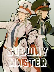 2boys gloves grey_hair hat kudari_(pokemon) looking_at_viewer male multiple_boys necktie nobori_(pokemon) peaked_cap pokemon pokemon_(game) pokemon_bw ratatouille_(06ten) uniform