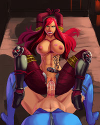 2girls abs aka6 bdsm bed belt bondage boots bound breasts cum cum_in_pussy erection femdom futa_with_female futanari green_eyes katarina_du_couteau league_of_legends lipstick lipstick_mark luxanna_crownguard multiple_girls muscle navel nipples oral penis pussy rape red_hair scar sex tattoo tears thigh_boots thighhighs thighs toned vaginal