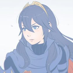 1girl armor artist_name blue_eyes blue_hair blurry blush depth_of_field female fire_emblem fire_emblem:_kakusei hair_between_eyes koyorin long_hair looking_afar looking_at_viewer looking_to_the_side lucina mole mole_under_mouth pale_color parted_lips pink_lips portrait shoulder_pads simple_background solo symbol-shaped_pupils tiara watermark web_address white_background