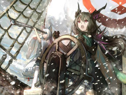 2girls animal_ears black_hair bow cape cat_ears cat_tail cloud from_below green_eyes long_hair looking_afar multiple_girls open_mouth pixiv_fantasia pixiv_fantasia_t purple_eyes shadow ship ship's_wheel sishenfan sky snow snowing spaulders tail tail_bow telescope watercraft white_hair wind