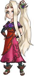 1girl blonde_hair flower goddess hands_on_hips highres kid_icarus kid_icarus_uprising nachure_(kid_icarus) nintendo ponytail rebera solo toes viridi yellow_eyes