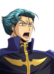 1boy asano_akira blue_hair cape code_geass jeremiah_gottwald male_focus open_mouth orange_eyes simple_background solo surprised uniform white_background