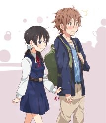1boy 1girl backpack bag black_hair blue_eyes blush brown_eyes brown_hair highres kitashirakawa_tamako long_hair low_twintails mizuse_kotone ooji_mochizou school_uniform short_hair sleeve_tug tamako_love_story tamako_market twintails