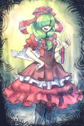 1girl adapted_costume arm_ribbon boots bow covering_one_eye dress frills front_ponytail green_eyes green_hair hair_bow hair_ornament hair_ribbon kagiyama_hina long_hair looking_at_viewer oo_gata_ken open_mouth puffy_sleeves ribbon short_sleeves smile smirk solo touhou twitter_username