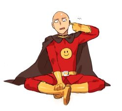 1boy anpanman anpanman_(character) anpanman_(character)_(cosplay) bald belt cape cosplay gloves indian_style looking_to_the_side male_focus namesake oimo_(14sainobba) one-punch_man saitama_(one-punch_man) simple_background sitting solo white_background yellow_gloves