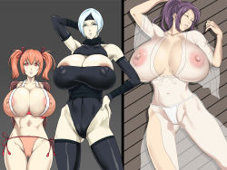 3girls areola_slip areolae arm_behind_head arm_up bare_shoulders blue_eyes breasts cameltoe cleavage erect_nipples eyes_closed female gigantic_breasts gradient_background hair_ribbon highres huge_breasts large_areolae long_hair lying mole multiple_girls navel nipples on_back orange_hair panties parted_lips ponytail purple_hair red_eyes see-through short_hair silver_hair standing steelxxxhotogi striped_background thigh_gap thighhighs thighs twintails