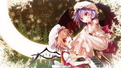 2girls bat_wings blonde_hair dress fang female flandre_scarlet hand_in_hair k2pudding looking_at_viewer multiple_girls open_mouth pink_dress playing_instrument playing_piano puffy_short_sleeves puffy_sleeves purple_hair red_dress red_eyes remilia_scarlet sash shirt short_sleeves siblings silver_hair sisters smile touhou wings wrist_cuffs