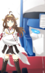 >:) 1girl admiral_(kantai_collection) ahoge autobot black_legwear blurry brown_eyes brown_hair commentary crossed_arms crossover depth_of_field detached_sleeves engiyoshi gunbuster_pose hairband hat kantai_collection kongou_(kantai_collection) long_hair mecha nontraditional_miko optimus_prime peaked_cap pleated_skirt revision ribbon-trimmed_sleeves ribbon_trim skirt smile standing thighhighs transformers wind zettai_ryouiki