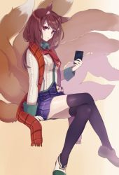 1girl ahri alternate_costume alternate_eye_color alternate_hair_color animal_ears black_legwear book brown_hair cellphone fox_ears fox_tail holding league_of_legends legs_crossed long_hair looking_at_viewer multiple_tails phone plaid plaid_scarf plaid_skirt red_eyes riffey scarf sitting skirt solo tail thighhighs yellow_background