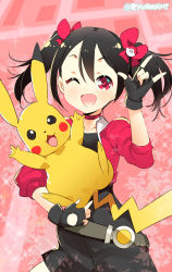1girl ;d \m/ black_hair carrying choker commentary_request crossover double_\m/ fingerless_gloves gloves hair_ornament highres long_hair looking_at_viewer love_live! love_live!_school_idol_project naitou_ryuu one_eye_closed open_mouth pikachu pokemon pokemon_go red_eyes smile twintails yazawa_nico