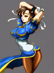 1girl arms_up bracelet breasts brown_eyes brown_hair brown_legwear bun_cover china_dress chinese_clothes chun-li cowboy_shot double_bun esther eyeliner jewelry large_breasts makeup pantyhose pelvic_curtain sash short_hair signature slender_waist solo spiked_bracelet spikes street_fighter