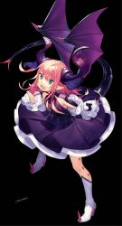 1girl black_background blue_ribbon boots breasts claws demon_wings detached_sleeves fate/extra fate/extra_ccc fate_(series) flower full_body green_eyes hair_ribbon high_heels highres horns lancer_(fate/extra_ccc) legs_apart long_hair looking_at_viewer misoni_comi open_mouth pink_hair pointy_ears purple_skirt ribbon signature skirt small_breasts smile solo spikes tail white_boots white_legwear wings