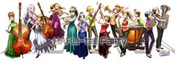 :d absurdres ahoge akizuki_ritsuko alternate_hairstyle amami_haruka antenna_hair bassoon black_eyes black_hair blonde_hair blue_eyes blue_hair brown_eyes brown_hair cello clarinet double_bass dress everyone flute french_horn futami_ami futami_mami ganaha_hibiki glasses hagiwara_yukiho hair_ribbon hair_up hairband higashiyama_hayato high_heels highres hoshii_miki idolmaster instrument jewelry kikuchi_makoto kisaragi_chihaya long_hair long_image looking_at_viewer minase_iori miura_azusa necklace open_mouth orange_hair pants pink_eyes ponytail red_eyes ribbon saxophone shijou_takane shoes short_hair silver_hair sleeveless sleeveless_dress smile takatsuki_yayoi timpani trombone trumpet tuba twintails vest viola_(instrument) violin wide_image
