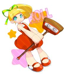 1girl android blonde_hair blush_stickers broom character_name dated dress green_eyes hair_ribbon long_hair mary_janes no_socks ponytail red_dress ribbon robot_joints rockman rockman_(classic) roll shoes smile solo yuriyuri_(ccc)