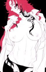 1girl black_background breasts facial_tattoo flat_color groin hair_over_shoulder hong_meiling large_breasts long_hair looking_at_viewer midriff navel neko_majin nipples no_bra open_clothes open_fly open_shirt panties pants panty_pull pubic_hair pulled_by_self red_hair scar shirt sleeves_rolled_up smile solo spot_color tattoo toned touhou underwear unzipped upper_body