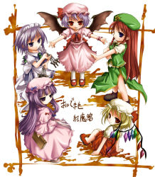 5girls bat_wings blonde_hair blue_bow blue_eyes blue_ribbon book bow braid chibi collared_shirt cravat crescent crescent_hair_ornament dress flandre_scarlet frilled_dress frilled_shirt frilled_sleeves frills grey_eyes hair_bow hair_ornament hat holding holding_book holding_knife hong_meiling izayoi_sakuya knife long_hair long_sleeves looking_at_viewer maid maid_headdress mob_cap multiple_girls neck_ribbon open_mouth outstretched_arms patchouli_knowledge pink_dress puffy_short_sleeves puffy_sleeves purple_eyes purple_hair red_bow red_eyes red_hair red_ribbon remilia_scarlet ribbon shirt shoes short_hair short_sleeves side_slit silver_hair smile star tenmaru text touhou twin_braids white_background white_legwear wide_sleeves wings