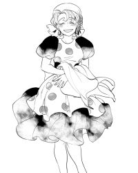 1girl apron dress eyes_closed facing_viewer female grin hat jojo_no_kimyou_na_bouken monochrome smile solo suzi_quatro yatitamada