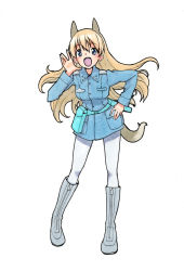 1girl :d animal_ears blonde_hair blue_eyes blush boots eila_ilmatar_juutilainen fox_ears fox_tail full_body hand_on_hip jacket leaning_forward long_hair military military_uniform open_mouth pantyhose shiratama_(hockey) simple_background smile solo strike_witches tail traditional_media uniform white_background white_legwear