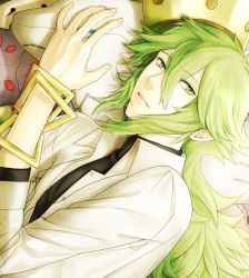 1boy crown green_eyes green_hair hat long_hair male n_(pokemon) pokemon pokemon_(game) pokemon_bw ponytail yoku28