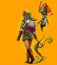 1boy 1girl absurdres ass blonde_hair butiboco highres imp link midna pointy_ears red_hair shield the_legend_of_zelda twilight_princess weapon