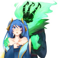 1girl artist_request bare_shoulders blue_eyes blue_hair hand_holding hand_on_another's_shoulder league_of_legends long_hair looking_at_another simple_background sona_buvelle tagme thresh twintails white_background