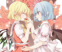 2girls akagashi_hagane bat_wings blonde_hair blue_hair brooch eyes_closed feeding flandre_scarlet food fruit jewelry multiple_girls pointy_ears puffy_short_sleeves puffy_sleeves remilia_scarlet short_hair short_sleeves spoon strawberry touhou wings