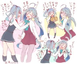 2girls adjusting_another's_clothes ahoge belt black_legwear blue_hair bow bowtie colis comic commentary_request dress eating eyes_closed food food_on_face grey_eyes grey_hair hair_between_eyes heart kantai_collection kasumi_(kantai_collection) kiyoshimo_(kantai_collection) kneehighs long_hair long_sleeves low_twintails multicolored_hair multiple_girls onigiri open_mouth package pantyhose pinafore_dress purple_legwear shirt side_ponytail sleeveless sleeveless_dress translation_request twintails twitter_username very_long_hair white_shirt