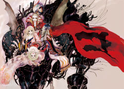 1boy 2girls amano_yoshitaka_(style) androgynous arm_support belt blonde_hair blue_eyes bow breasts cape cefca_palazzo celes_chere cleavage closed_mouth collar collarbone cross-laced_clothes curly_hair detached_sleeves earrings elbow_gloves eyeshadow final_fantasy final_fantasy_vi fingernails full_body gloves green_eyes green_hair groin hair_ornament hair_ribbon hairpin head_back index_finger_raised jewelry leaning_forward lips lipstick long_fingernails long_hair looking_at_viewer looking_back magitek_armor makeup multiple_girls nail nail_polish oju_(ouka) pants ponytail red_nails ribbon short_hair sitting strapless tassel throne tina_branford tubetop