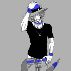 1boy belt collar cranidos fangs hand_on_headwear hat jewelry kurage_miho limited_palette necklace one_eye_covered pants_pull personification pokemon red_eyes ring solo spiked_collar spikes t-shirt tail wristband