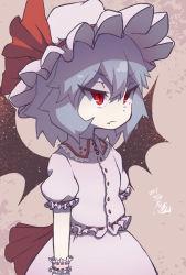 1girl bat_wings blue_hair bow hat hat_bow itsuki_(kisaragi) red_eyes remilia_scarlet sash short_hair solo touhou wings wrist_cuffs