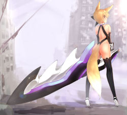 absurdres animal_ears ass blonde_hair bodysuit elbow_gloves fox_ears from_behind gloves high_heels highres huge_weapon looking_back original ribbon short_hair sword tail thighhighs tsukimi_(pixiv) weapon yellow_eyes