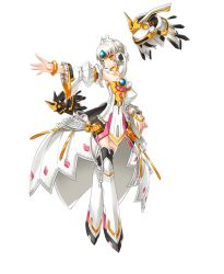 1girl armor armored_boots armpits boots bracelet code:_empress_(elsword) collarbone detached_sleeves dress elsword eve_(elsword) full_body jewelry official_art orange_eyes outstretched_arm ress short_hair silver_hair solo strapless strapless_dress thigh_boots thighhighs transparent_background