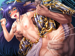 1boy 1girl artist_request bottomless breast_grab breasts censored cum cum_in_pussy doggystyle female happy_sex hetero kuula_(taimanin_asagi) long_hair nipples penetration penis purple_hair pussy_juice sex small_breasts smile sweat taimanin_asagi_battle_arena tongue tongue_out torogao vaginal