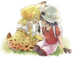2girls animal_ears animal_print backpack bag bare_shoulders black_hair black_legwear blonde_hair elbow_gloves eyes_closed gloves hand_holding hat hat_feather idu kaban kemono_friends looking_at_another multiple_girls open_mouth pantyhose red_shirt serval_(kemono_friends) serval_ears serval_print serval_tail shirt short_hair shorts sitting skirt sleeveless sleeveless_shirt smile t-shirt tail thighhighs white_shirt