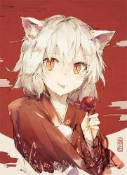 1girl 2017 :p animal_ears candy_apple closed_mouth cloud commentary_request floral_print food hair_between_eyes hand_up holding holding_food inubashiri_momiji japanese_clothes kashii_(amoranorem) kimono long_sleeves looking_at_viewer orange_eyes print_kimono print_yukata red_kimono red_sun red_yukata short_hair slit_pupils solo tongue tongue_out touhou upper_body white_hair wolf_ears yukata
