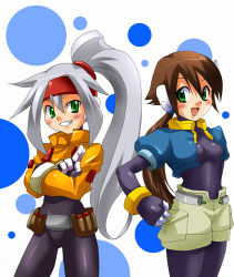 2girls aile ashe brown_hair capcom green_eyes long_hair lowres multiple_girls rockman rockman_zx silver_hair