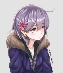 1girl ahoge akebono_(kantai_collection) alternate_costume alternate_hair_length alternate_hairstyle arms_at_sides artist_name bell bell_earrings casual collarbone disco_brando earrings eyebrows eyebrows_visible_through_hair flower grey_background hair_flower hair_ornament hood hooded_track_jacket jacket jewelry jingle_bell kantai_collection looking_to_the_side purple_eyes purple_hair shiny shiny_hair short_hair simple_background solo track_jacket twitter_username