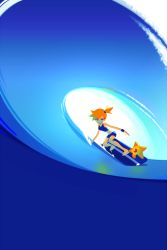 1girl kasumi_(pokemon) looking_at_viewer mmn2 nintendo orange_hair pokemon side_ponytail staryu surfboard surfing swimsuit water wave wristband