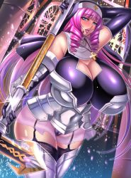 1girl armor bare_shoulders black_gloves blue_eyes breasts cameltoe cross cross_necklace drill_hair elbow_gloves female garters gigantic_breasts gloves habit huge_breasts jewelry lips long_hair looking_at_viewer megane_man mole necklace original pink_hair purple_hair solo staff thighs very_long_hair weapon