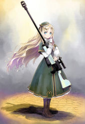 1girl anti-materiel_rifle artist_name blonde_hair blue_eyes boots bow bowtie brown_boots dress floating_hair full_body green_dress green_hair gun hair_ornament hat high_heel_boots high_heels highres holding holding_gun holding_weapon long_hair looking_at_viewer mini_hat original rifle sniper_rifle solo standing tanaka_takayuki very_long_hair weapon white_bow