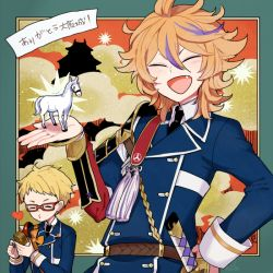 2boys armor blonde_hair brown_hair castle cloud eyes_closed fang glasses gotou_toushirou hakata_toushirou heart horse japanese_armor l_hakase male_focus military military_uniform multiple_boys necktie open_mouth red-framed_glasses smile sode touken_ranbu translation_request uniform