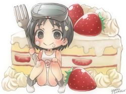 1girl black_eyes black_hair cake chibi food food_on_face goggles goggles_on_head kantai_collection looking_at_viewer maru-yu_(kantai_collection) oversized_object school_swimsuit short_hair sitting smile swimsuit white_school_swimsuit white_swimsuit yumi_yumi