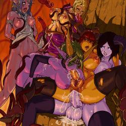 anal ass between_breasts breasts cum fellatio futanari horns large_breasts legwear monster_girl newhalf nipples penis pussy tentacle uncensored warcraft world_of_warcraft
