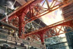 1boy 1girl architecture balcony bridge dutch_angle east_asian_architecture headphones headphones_around_neck highres manoma original pipes railing scenery sitting stairs steam tagme train vent_(object)