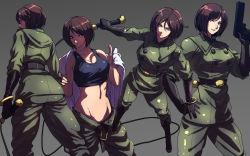 1girl breasts brown_eyes brown_hair cleavage female gun king_of_fighters military military_uniform mound_of_venus pistol s_tanly simple_background snk tank_top undressing uniform whip whip_(kof)